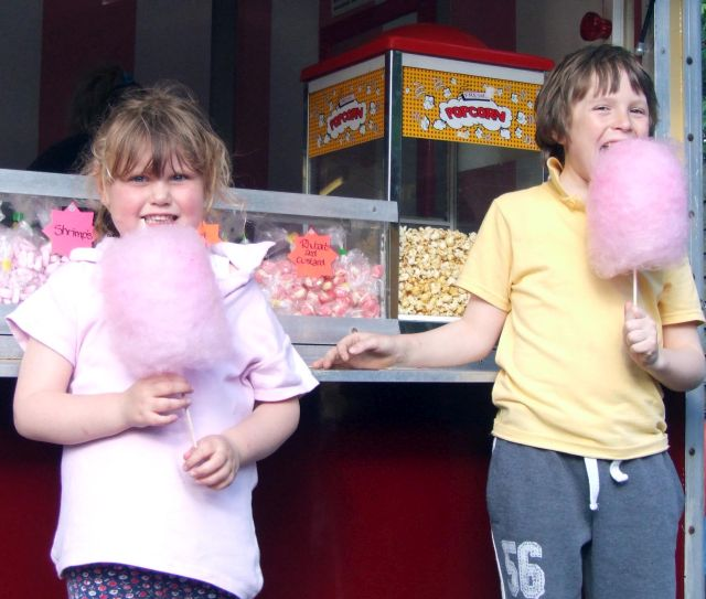 Candy floss candyfloss and popcorn stall, cotton candy, candy carts - unlimited candyfloss!